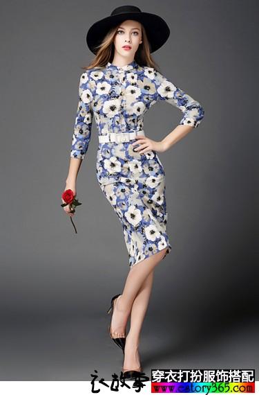 欧美印花连衣裙