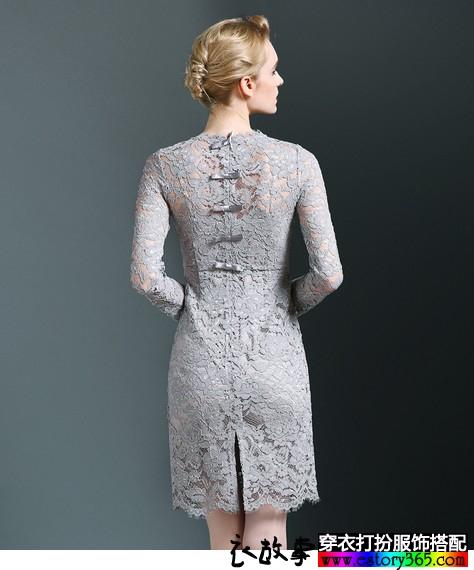 蕾丝圆领修身连衣裙