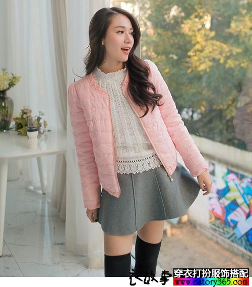绣花纯色圆领短棉衣
