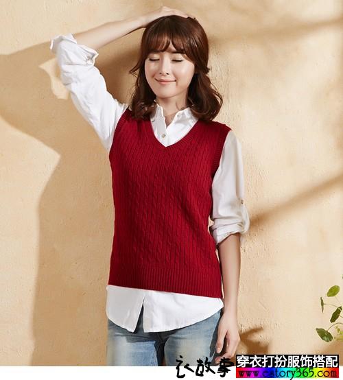 纯色V领套头针织衫