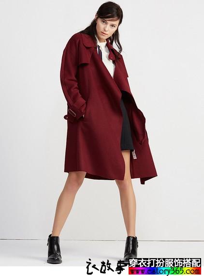 纯色宽松系带中长款毛呢外套