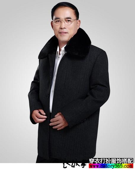 加绒加厚中老年毛呢外套