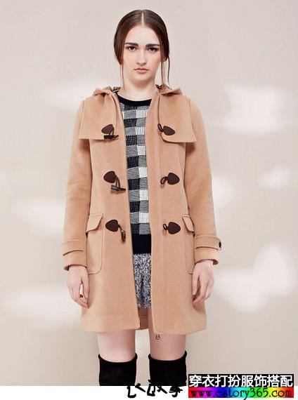 风衣款连帽羊毛呢外套