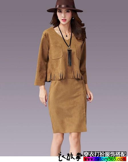 麂皮绒复古套装裙
