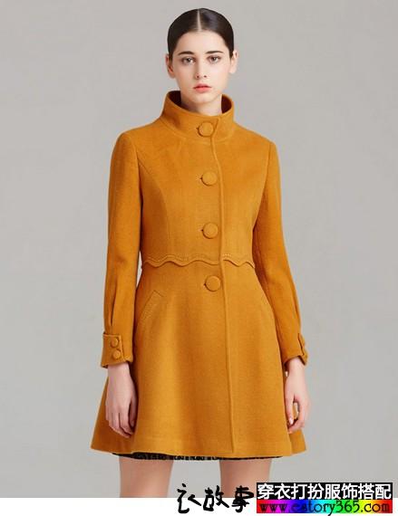 立领修身裙式毛呢外套