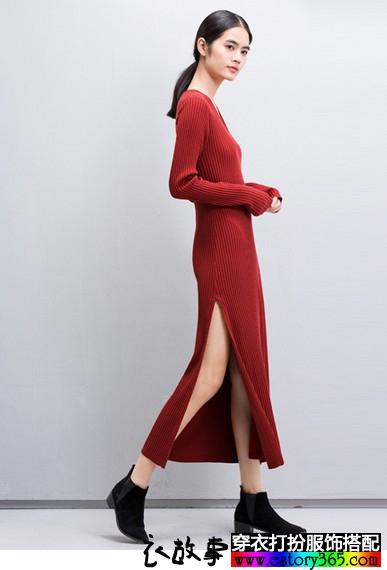 V领高开叉针织连衣裙