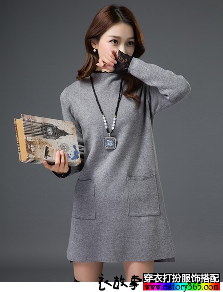 半高领蕾丝拼接毛衣裙