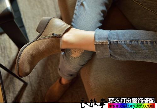 侧拉链磨砂短筒靴
