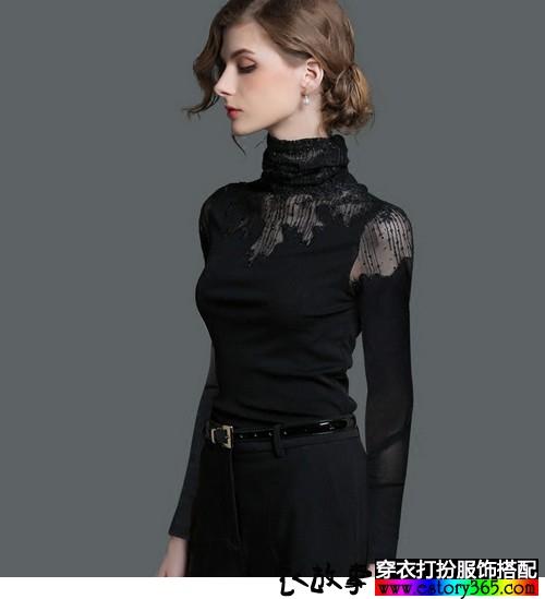 蕾丝网纱镂空打底衫搭配