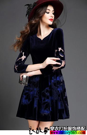 绣花金丝绒连衣裙