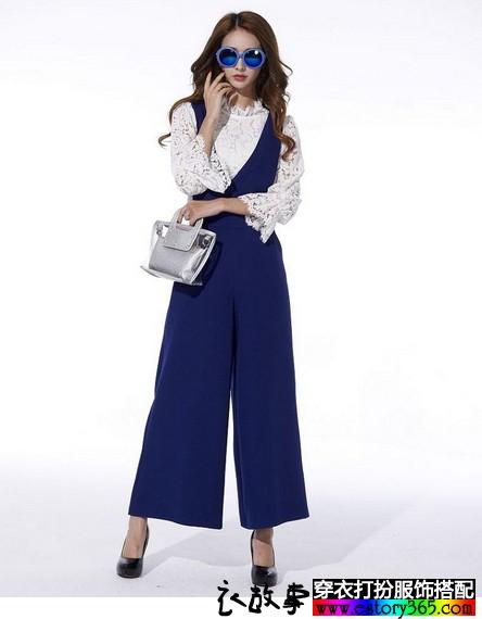 蕾丝衫背带阔腿长裤两件套搭配
