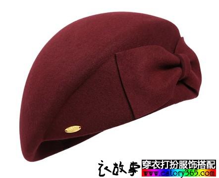 蝴蝶结羊毛贝雷帽