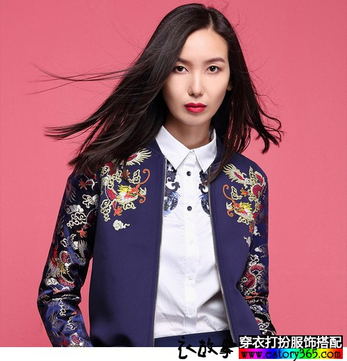 中国风刺绣太空棉夹克搭配