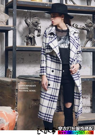 大码格纹羊绒大衣