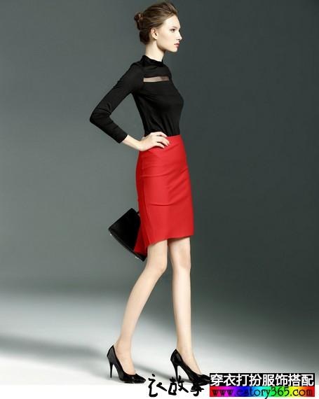 纯色包臀半身裙搭配