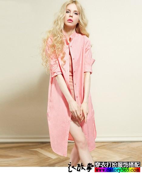 纯色棉质衬衫裙搭配
