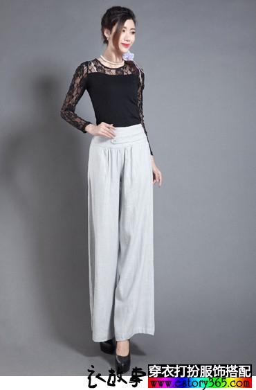 纯色亚麻阔腿裤裙裤