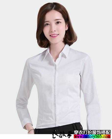 简约纯色修身白衬衫搭配