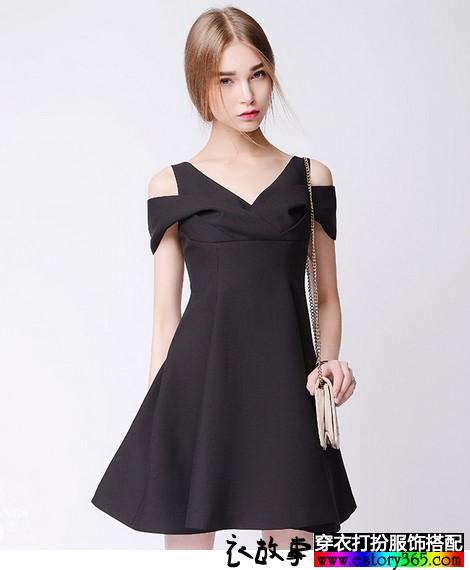 黑色淑女V领礼服裙
