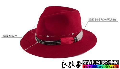 蝴蝶结大檐毛呢礼帽