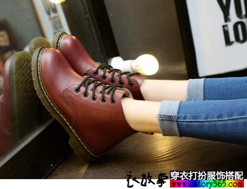加绒平底及踝短靴