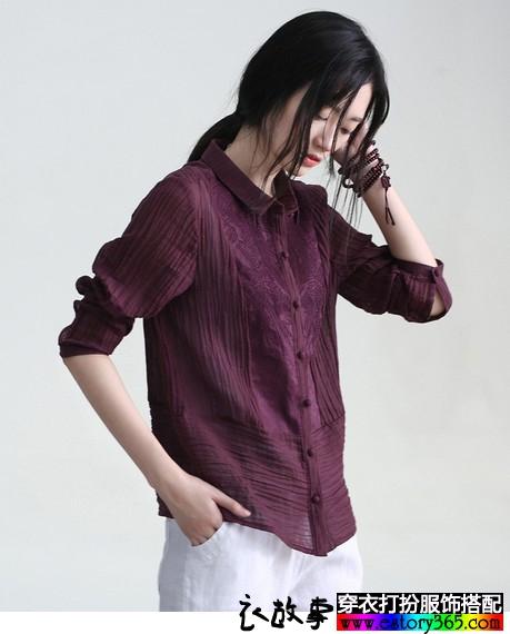 文艺刺绣亚麻衬衫