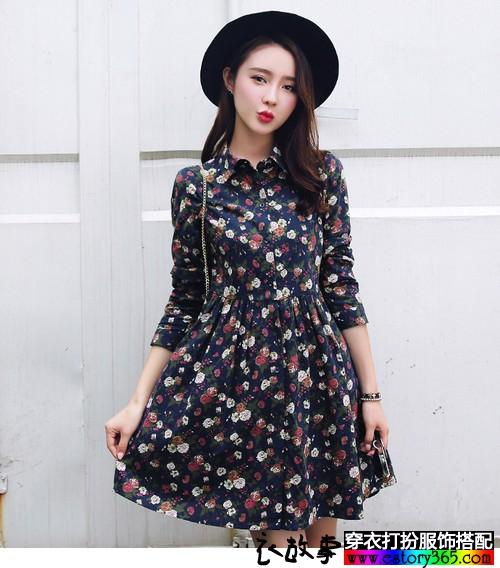 碎花复古中长款衬衫裙