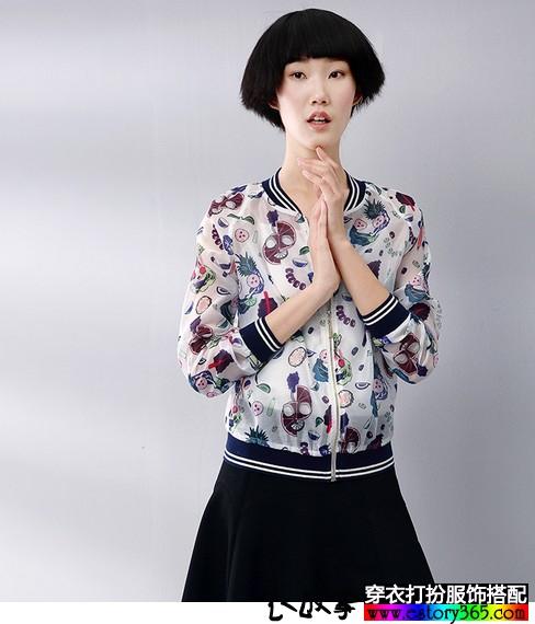 欧根纱印花棒球服外套