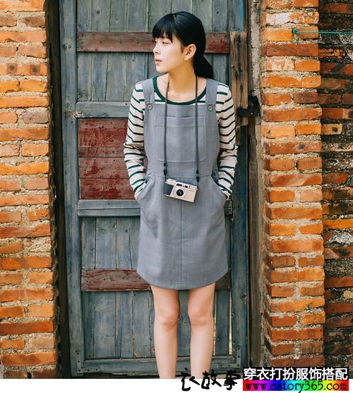 吊带纯色背带裙