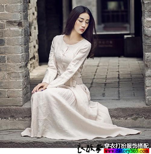 棉麻修身文艺长裙