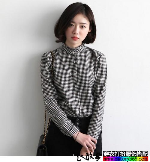 格纹立领宽松森系衬衫