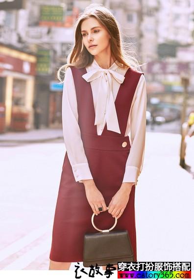 纯色A摆背带裙