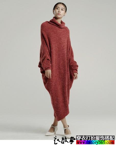 羊毛混纺针织不规则长裙