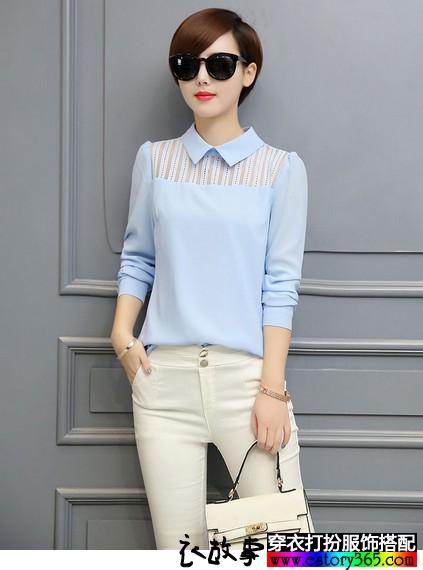 纯色蕾丝雪纺衫