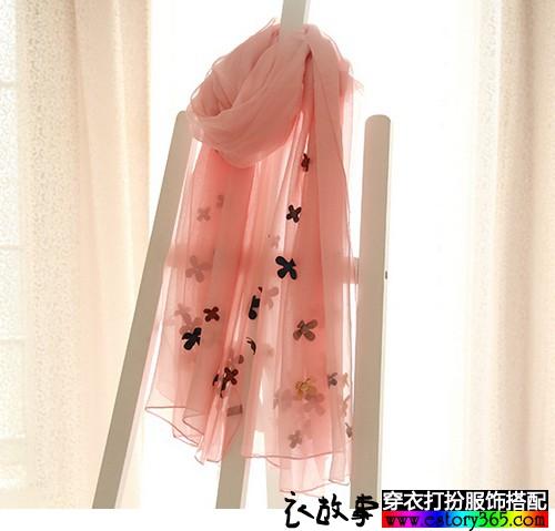 立体花朵纯色丝巾