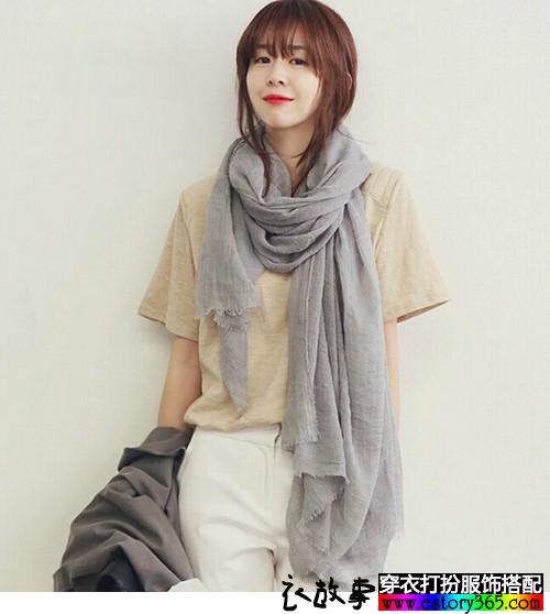 长方形褶皱纯色超长纱巾