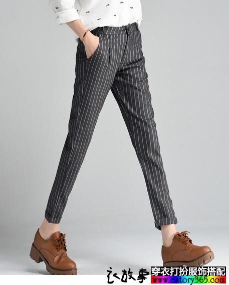 竖条纹九分西装裤