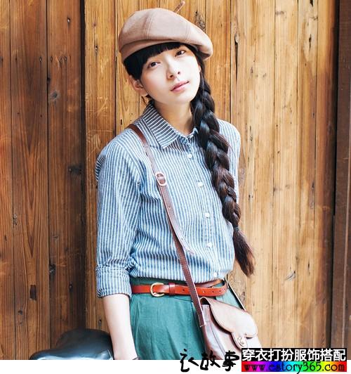 棉麻条纹文艺衬衫