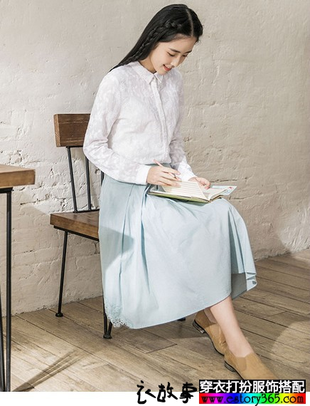 花朵刺绣纯棉长袖衬衫