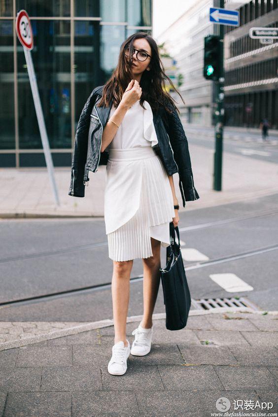从不知原来连衣裙配皮衣竟可以美得这么霸气侧漏