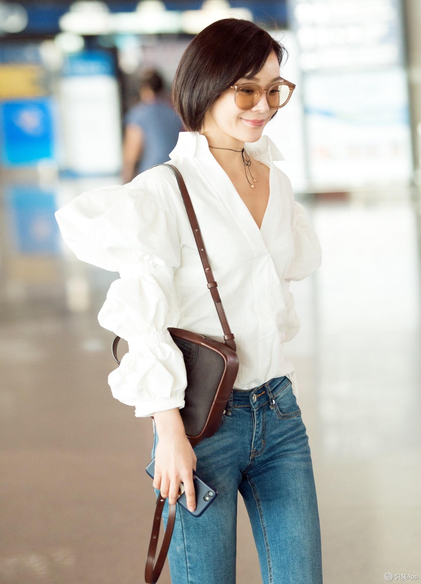 袁姗姗穿起最时髦的羊蹄袖衬衫 遮肉显瘦就靠它!